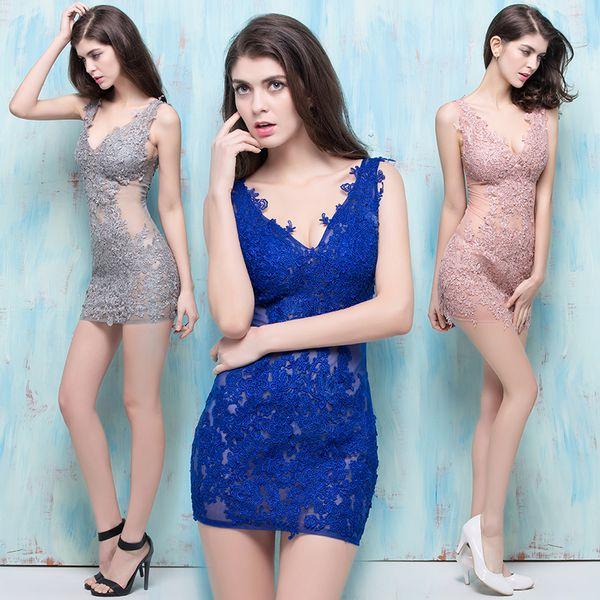 Nuevo Blue Net Yarn Decals Discoteca Perspectiva sexy Mujeres Moda de verano Cuello en V profundo Paquete Hip Falda delgada Noche Vestidos de baile Falda