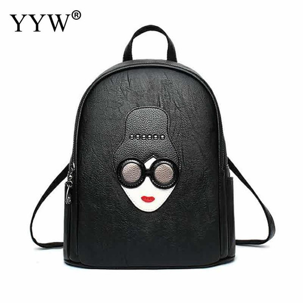 Fashion Black PU Leather Backpack Female Mini Backpacks for Women and Adolescent Girls 2018 New Catton Travel School Bag