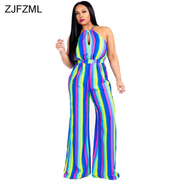 ZJFZML Coloré Rayé Sexy Combinaison Femmes Hors De L'épaule Sans Manches Une Pièce Globale Estivales Halter Larges Jambières