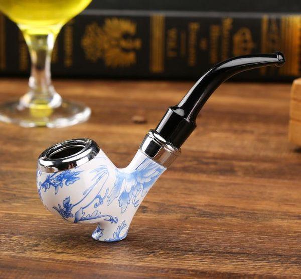 Retro- stehende weiße untere blaue und weiße Porzellanharzpfeife verbogen hölzernes Pfeife rauchendes kleines