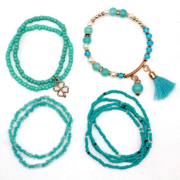 9pcs/set Brand Multilayer Seed Beads Tassel Clover Bracelets & Bangles Strand Stretch Friendship Bracelets Pack for Women