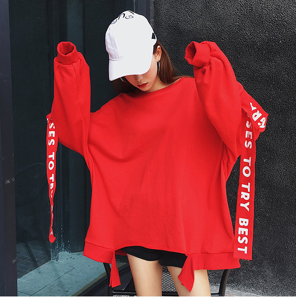 Women Harajuku Loose Long Sleeves T-shirt Striped letter Print Tshirt Sweatshirt And Pullover bts Kpop Clothes Plus Size Top