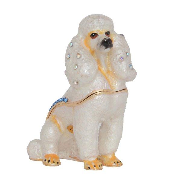 Poodledog Trinket & Jewelry Box Hand Painted Hinged Dog Keepsake Boxes Miniature Dogs Decor Creative Gifts Pet Lovers