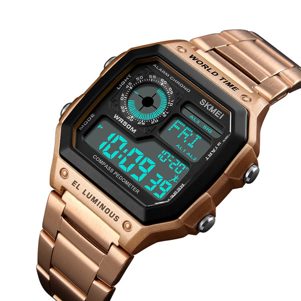 Luxury SKMEI Mens Compass Sports Watches LED Digital Watch Pedometer Calories Mileage Clock Male Relogio Masculino