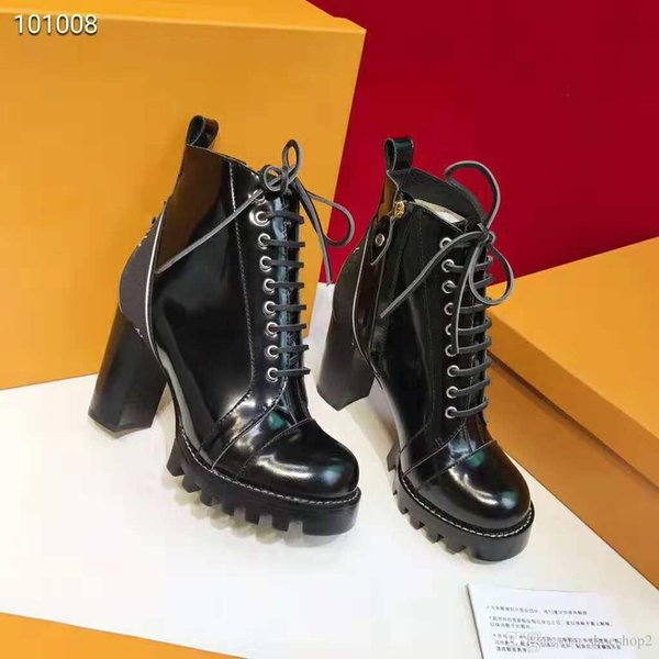 Branded Women Glazed Leather Star Trail Ankle Boots Designer Lady Side Zip Chunky Heel Rubber Outsole Ultra-wearable Ankle Boots Size35-41