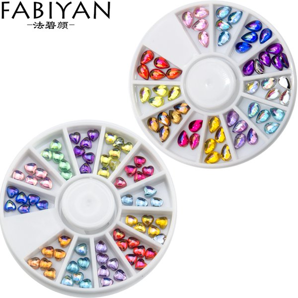 Nail Art Wheel Mixed Shape Decorations Colorful 3D Tips Acrylic Crystal UV Gel Rhinestones Accessories DIY Design Manicure Tools