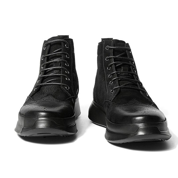 Taille us nous hommes en cuir véritable lacets rétro bottes de débarrassement bout rond bussiness homme aile conseils hiver richelieu bottines