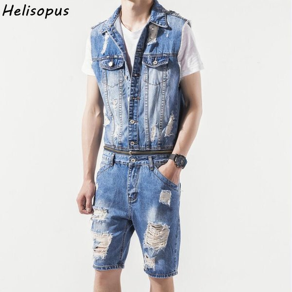 Helisopus Men's hole cowboy sleeveless short pants jumpsuits removable zipper suit male beggar ripped jeans overalls Asian size