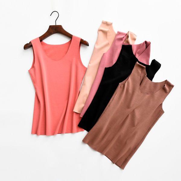 Autumn Winter Women Tanks Warm Seamless Velvet Tank Tops Lady Solid Camisole Slim Sleeveless Vest Basic Bottoming Underwear 1540