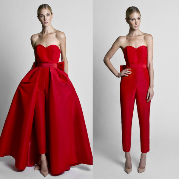 Best Selling Red Jumpsuits Prom Dresses With Detachable Train Strapless Neck Plus Size Formal Evening Wear Ankle Length Satin Party Gowns