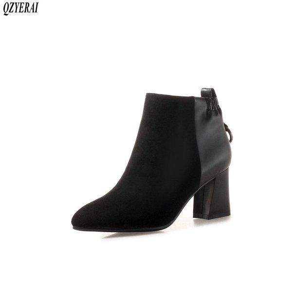 138da368d18b QZYERAI новые осень и зима 100% натуральная кожа женщины сапоги на высоком  каблуке ботильоны натуральная