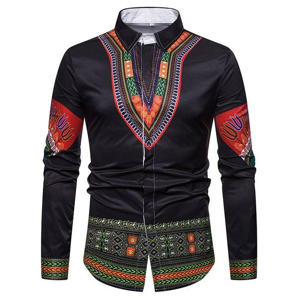 Männer Shirt afrikanische Kleidung 2018 traditionelle afrikanische Dashiki Mens Dress Shirts Schlank Langarm-Shirt männlich Camisa Hombre