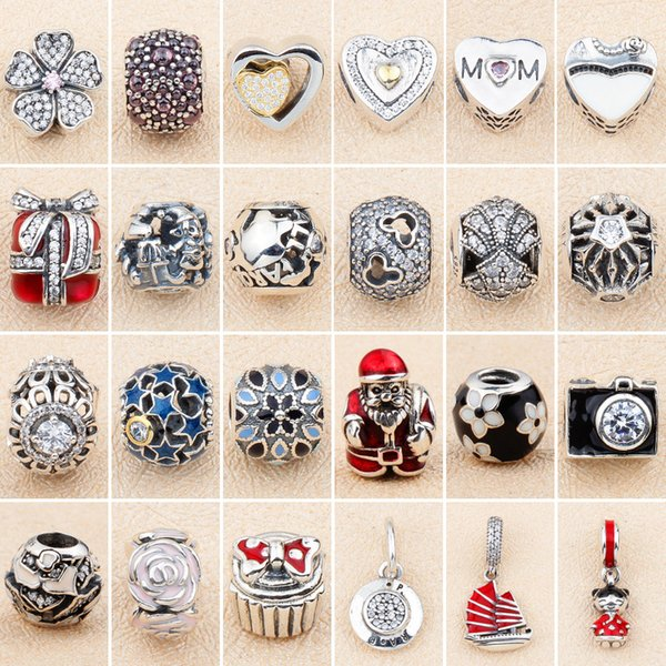 S925 sterling silver personality jewelry Amazon explosion models DIY loose beads beaded cherry grass sailing boat love diamond beads