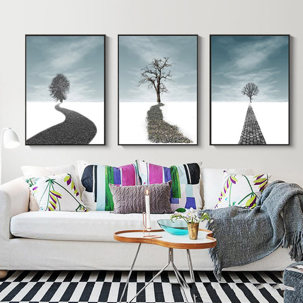 Modern Vintage Retro Black White Hd Art Print Nordic White Snow Road Tree Poster Hippie Wall Picture Canvas Painting Home Decor