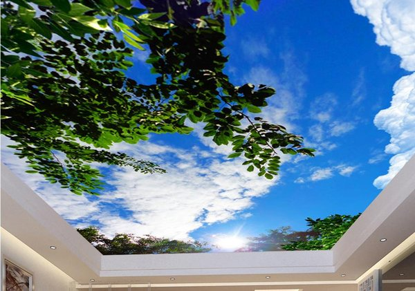 custom wall mural Blue sky and white clouds green ceiling ceiling painting stereoscopic wallpaper