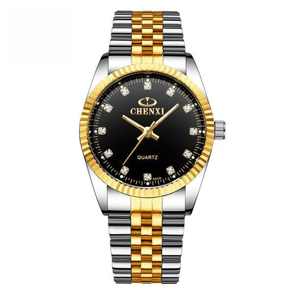 Luxury Watches Lovers Wrist Watch Original Quartz Movement Hardlex Mirror Stainless Steel Gold Strap Couple Wristwatch for Men and Women