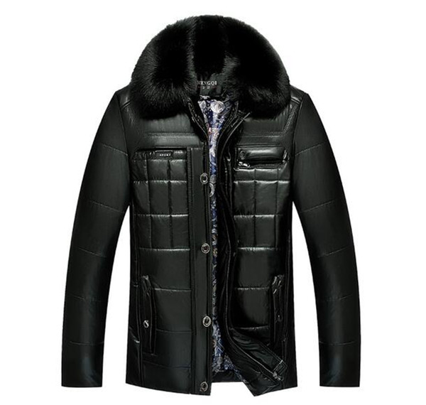 Men's autumn and winter fashion boutique business Europe and the United States xiushen hair collar PU leather down jacket /M-3XL