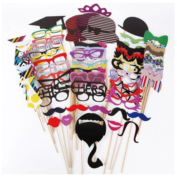 Wholesale-76Pcs/Set Colorful Fun Lip Mustache Creative Photo Booth Props wedding party decoration Birthday Christmas new year event favors