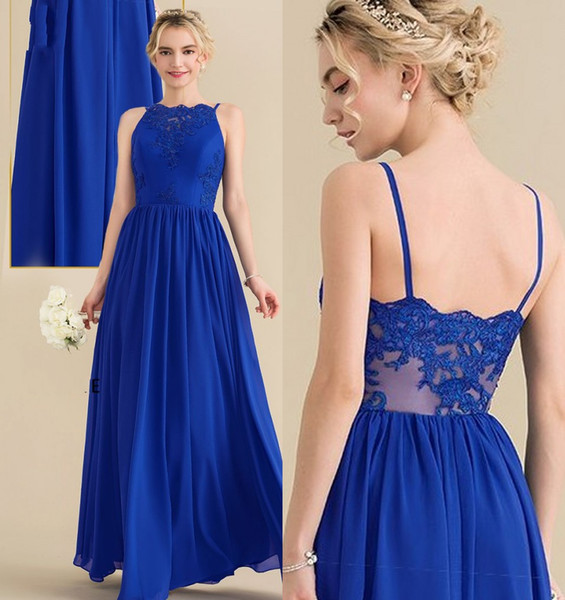 Cute Royal Blue Bridesmaid Dresses Country Lace With Spaghetti Straps Applique Chiffon Floor Length Backless Cheap Prom Formal Party Dress