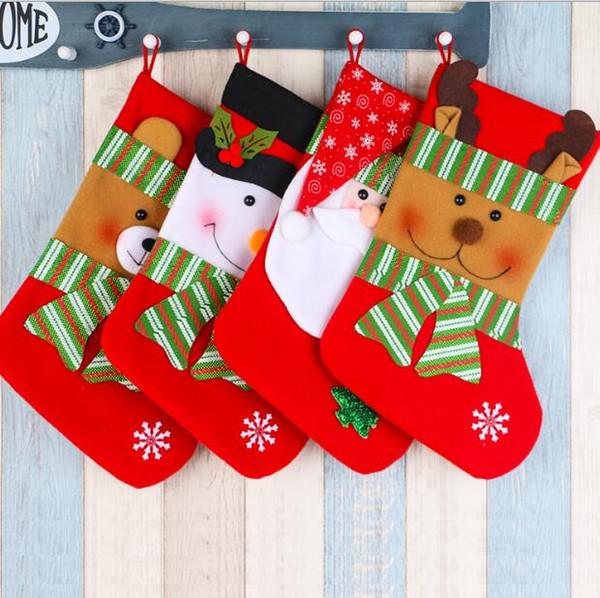Noel çorap Yılbaşı ağacı dekorasyon çorap Xmas süslemeleri çocuk hediye şeker çanta çorap ağacı dekor ev dekorasyonu