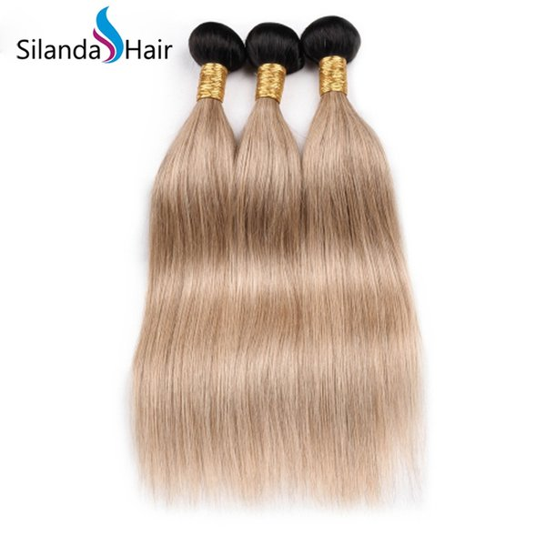 Silanda Hair Top Selling Cheap Brazilian Remy Human Hair Weft Straight Weavings Ombre Color #T 1B/Light Brown 3 pcs per pack Free Shipping