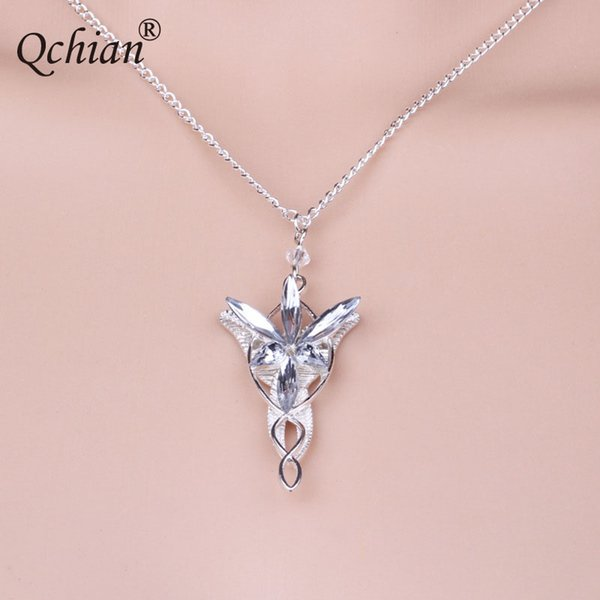 Hobbit Princess Crystal Inlaid Crystal Pendant White Angel Wings Leaves Necklace Pretty Gift for Children