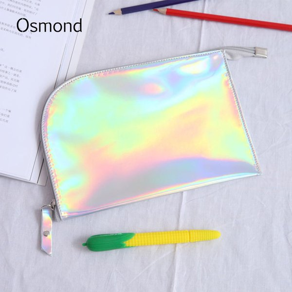 Hologram Laser Cosmetic Bags Women Cosmetic Cases Zipper Small PU Leather Travel Makeup Bag Envelope Case For Lady Summer Storag