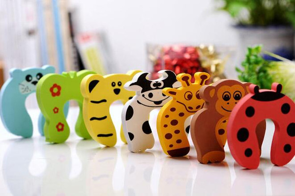top popular New Care Child kids Baby Animal Cartoon Jammers Stop Door stopper holder lock Safety Guard Finger 7 styles 2021