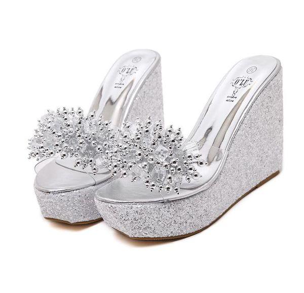 ViVi Lena 2018 Sequined Clear PVC Platform Wedge Sandals Slipper Women High Heel Slipper Shoes Black Gold Silver size 34 to 40