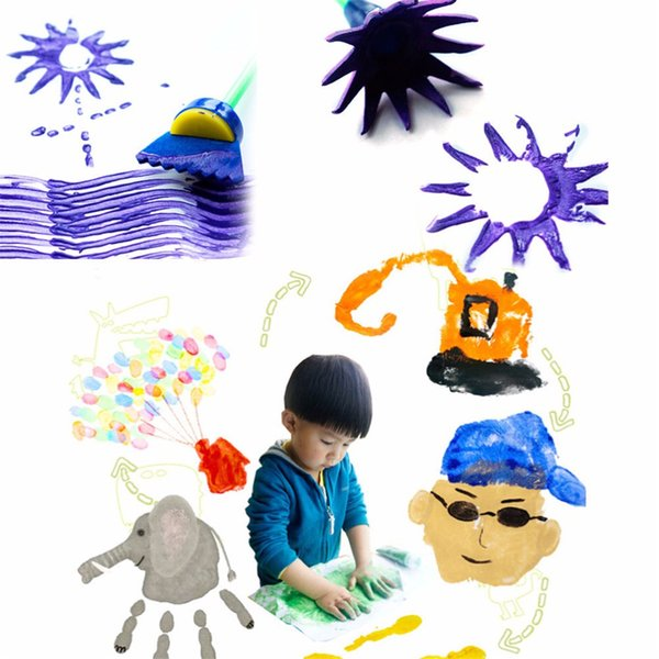 New Creative 4Pcs/Set Drawing Toys Funny creative toys for kids diy flower Graffiti sponge Art Supplies Brushes Seal Painting Tool