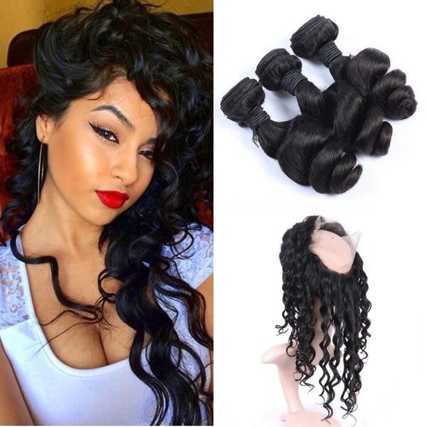 Virgin Loose Wave 360 Lace Frontal Closure With 3pcs Brazilian Wavy Human Hair Weaves 8-30inch 4pcs Lot Shedding Free