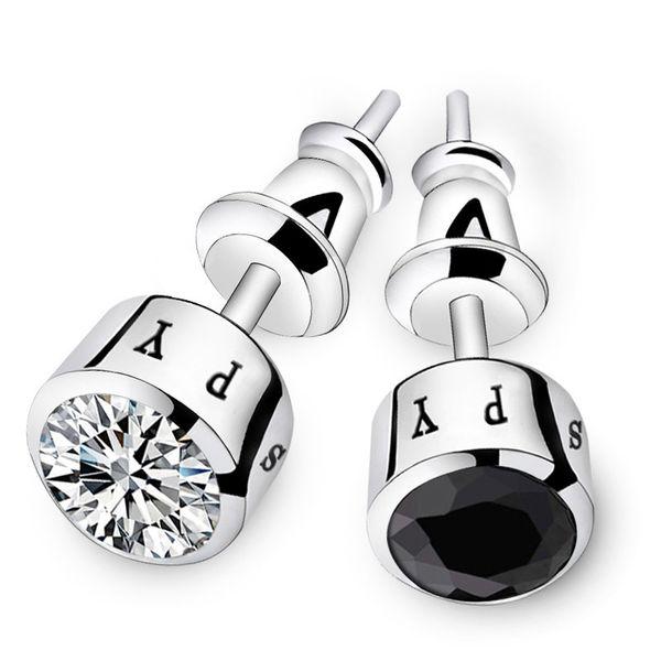Moda mens küpe için 925 ayar gümüş kristal damat aksesuarları erkekler için kulak çiviler sağdıç düğün hediyeleri siyah gümüş