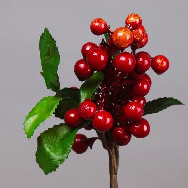 Novo Design 10 Pcs / Lot flor artificial decorativa Berry Mini Curto cereja 5 cores Fábrica Falso Fruit Início Car Decor Decoração de Natal DIY