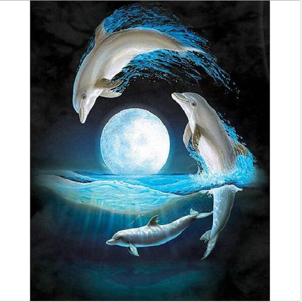 Dolphins DIY diamond painting embroidery room decoration cross-stitch kits Picture full of rhinestones Wall stickers sales YZ103