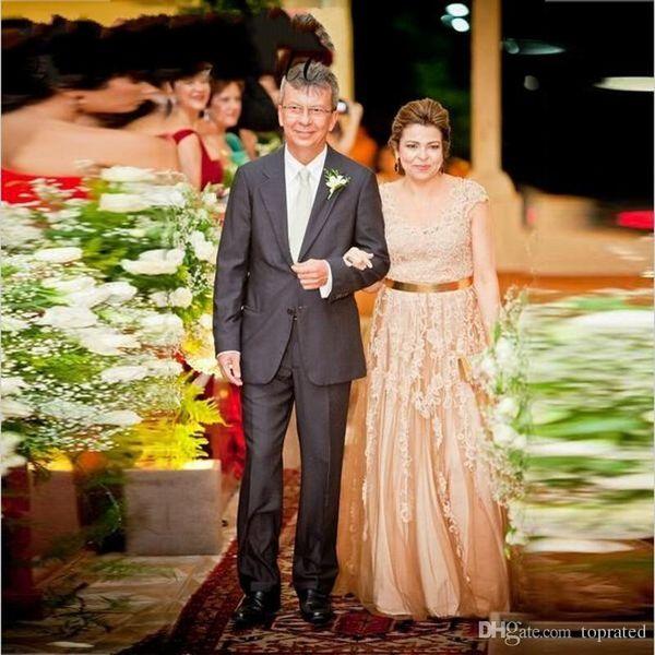 Champagne Tulle Mère De La Robe De Mariée Plus La Taille Femmes Ceinture En Or Longue Robes De Soirée Capped Mère Mariée Dentelle Robes De Fête De Mariage 2019