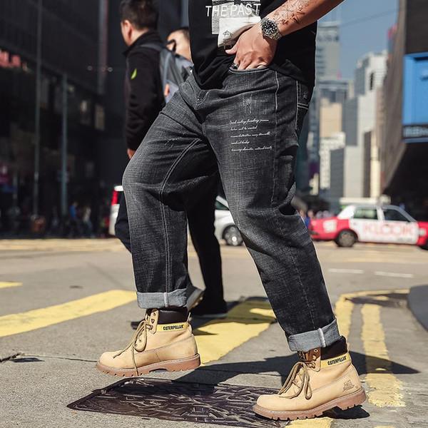 2018 New Black Gray Ripped Jeans Men With Plus Size 6XL Denim Famous Designer Brand Slim Fit Jean Pants Scratched Biker Jeans