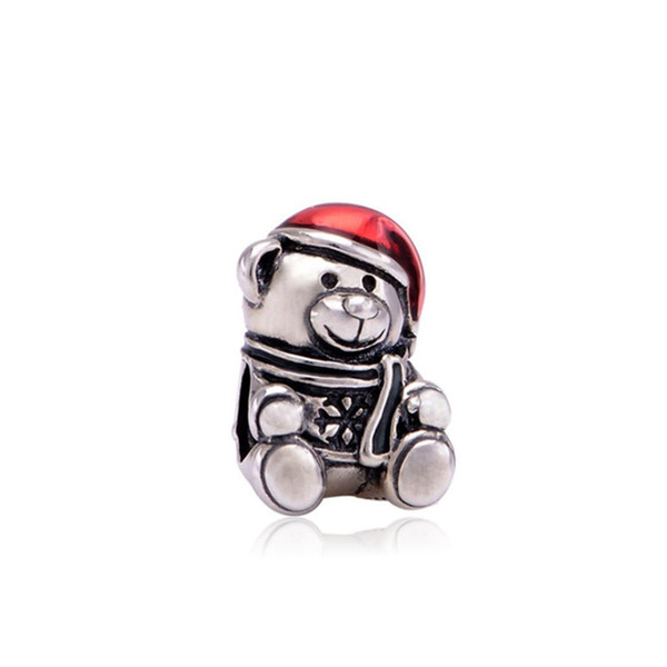 Fashion Charms Jewelry Findings And Components Bear With Red Hat Painted Loose Bead For Pandora Bracelet Bangle European Style