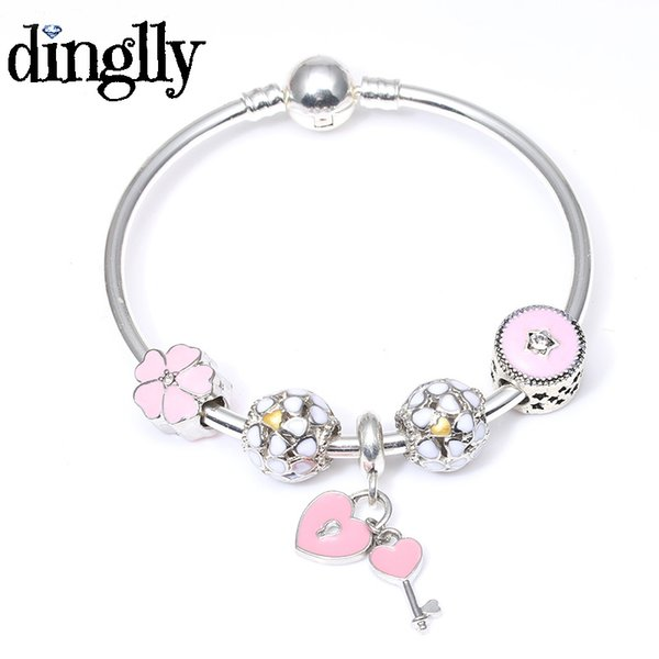 DINGLLY Romantic Lock and Key Pendant Pink Daisy Flower Charm Bracelet For Women Fashion Personalized Bracelet Jewellery