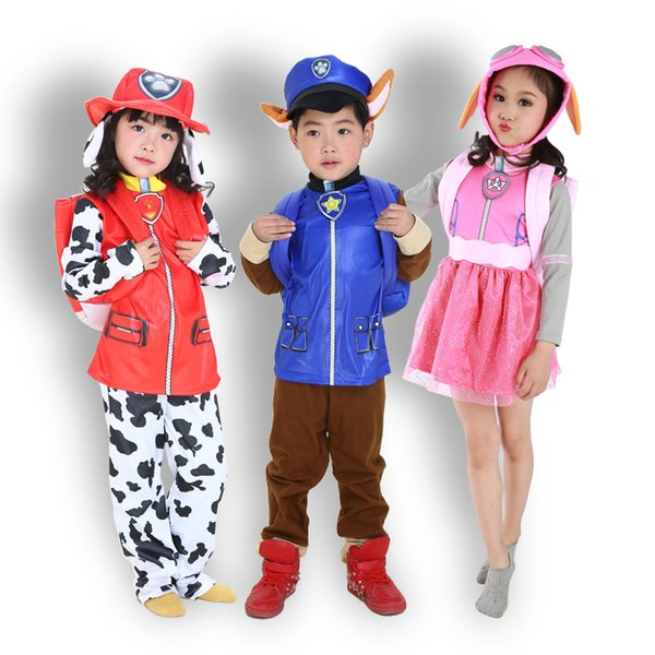 2018 New Kids Carnival Clothing Children dogs Marshall Chase Skye Cosplay Costume Boy Girl Halloween Party Role Play up