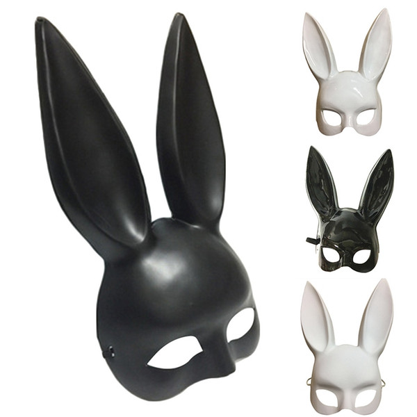 Party Masquerade Lapin Masques Sexy Lapin Longues Oreilles Carnaval Halloween Party Costume Masque 2018 Noir Blanc Halloween Décoration