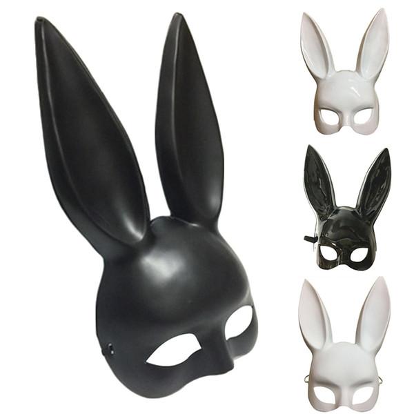 Mascherata di coniglio mascherata Maschere sexy coniglietto lungo orecchie Carnevale Halloween Party Costume Mask 2018 Nero Bianco Decorazione di Halloween