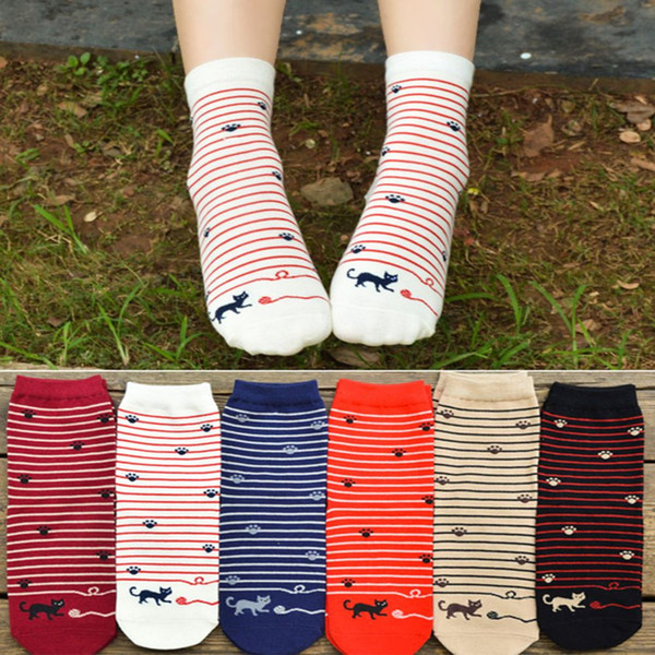 Cartoon Cat Animal Design Women Cotton Socks Lady Stripe Sock Winter Autumn High Quality Warm Breathable Comfortable Sock