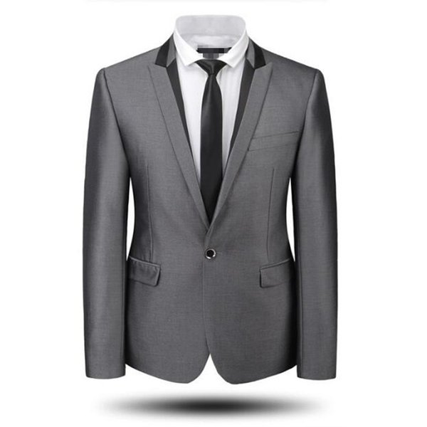 Grey men suits jacket new arrival one button groom wedding tuxedos jacket tailor made groomsman party suits