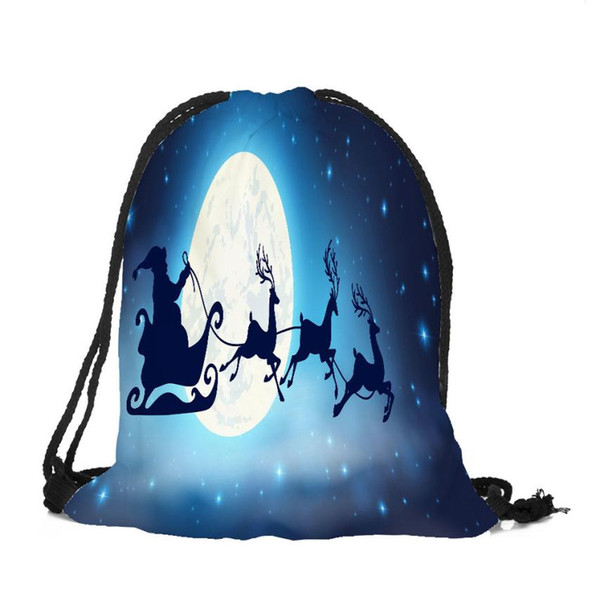 ISHOWTIENDA Merry Christmas Candy Bag 2018 NEW Unisex Printing Drawstring Bags Rucksack Bundle Pocket Storage Bag borse di tela