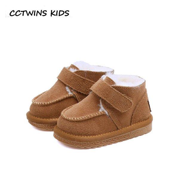CCTWINS ENFANTS 2018 Hiver Enfants Mode Chaussure Chaude Bébé Garçon En Cuir Véritable Botte Fille Marque Neige Botte Noir CS1670