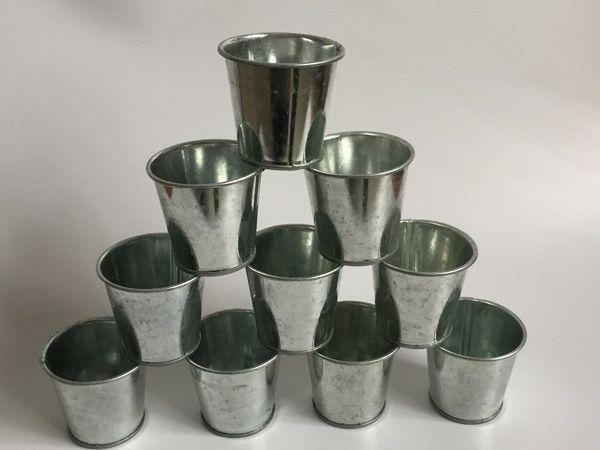 Metal cup Galvanized Succulent Pots Cheap Vintage Rustic Nostalgia Mini Garden Silver Tin Planter Mini Galvanized Buckets