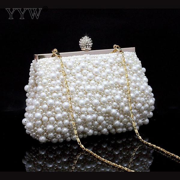 Pochette Habillée Sacs pour Femmes 2018 Blanc Cadre Sac avec Perles en Plastique Sacs à Main de Luxe Femme Sacs Designer Sac à Bandoulière Partie