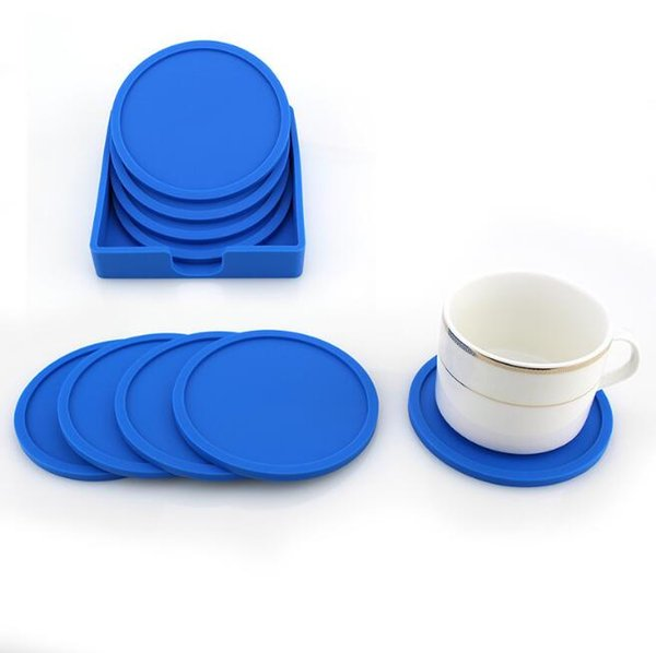 6 Colors 5pcs/set Silicone Cup Coasters Anti-slip Mug Mat Round Table Placemat Drink Pad Coffee Drink Insulation Coaster CCA10562 12set