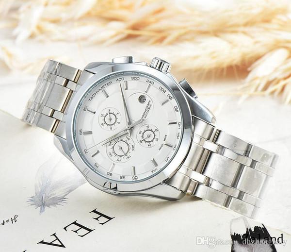 Yüksek Kalite Marka Üç Gözler Zamanlama izle Moda Basit Saatler Şık Şerit Çelik Kayış saatler Takvim saatler Mekanik Otomatik