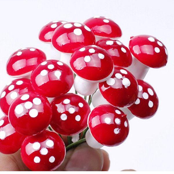 Artificial mini cogumelo fada jardim miniaturas gnome musgo terrário decoração artesanato de plástico bonsai casa decoração para DIY Zakka 100 pcs
